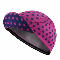 Lightweight Cycling Cap, Pink/Navy Polka Dot_4708